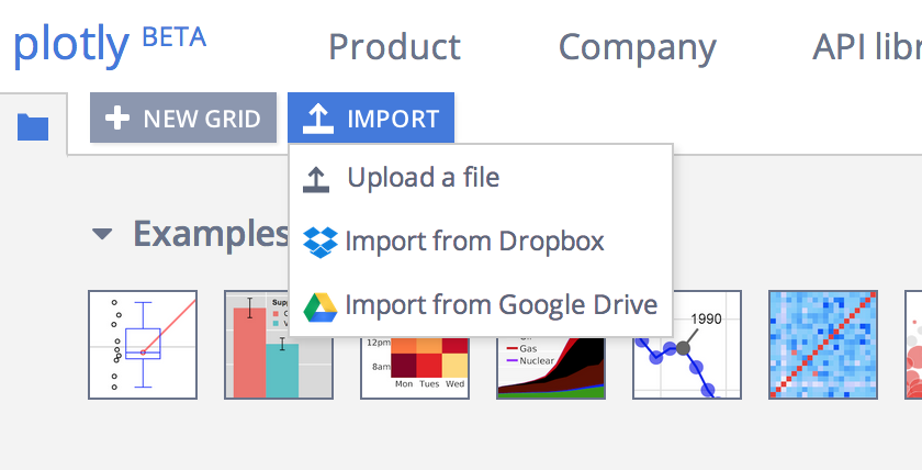 Button to upload data to Plotly